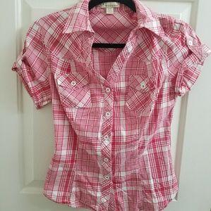 Pink plaid shirt (short-sleeve)